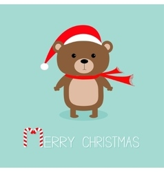 Brown bear in santa claus hat and scarf Candy vector image