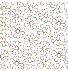 Brown silhouette pattern with daisy flowers vector