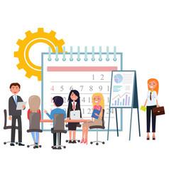 Business development teamwork and deadline vector