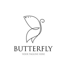 butterfly line drawing icon vector image