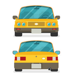 Car front and rear flat vector