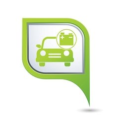 car with accumulator icon on green pointer vector image