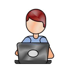 Cartoon programmer laptop working writing code vector