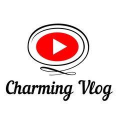 Charming vlog logo flat style vector