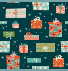 christmas and happy new year seamless pattern vector image