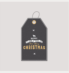 christmas gift tag typography quote design happy vector image
