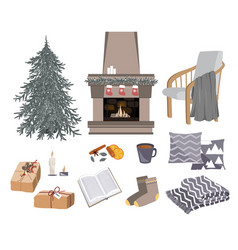 Cozy winter set with fireplace chair vector