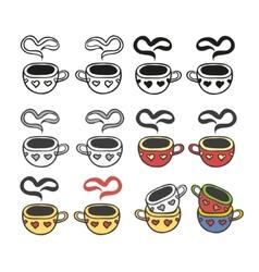 Cup of hot drink coffee tea etc vector