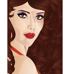 Curly brown haired girl vector image