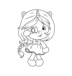 Cute baby unicorn with camera coloring page for vector
