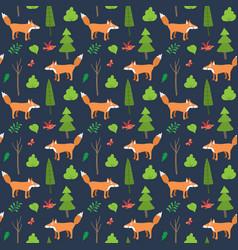 Cute fox seamless pattern cartoon animals vector