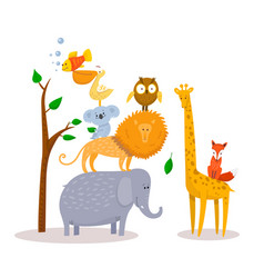 Cute funny cartoon animals lion giraffe elephant vector