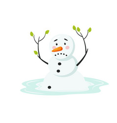 Cute sad melting snowman isolated on white vector