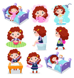 Daily routine activities for kids with cute girl vector