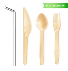 Disposable tableware set vector