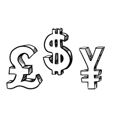 Dollar pound and yen currency signs vector image