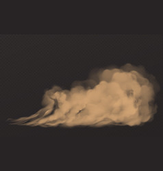Dust cloud dirty brown smoke heavy thick smog vector