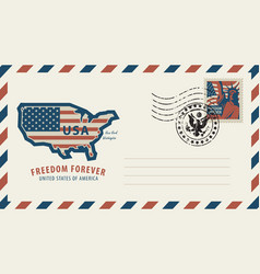 Envelope with map of america in colors of flag vector