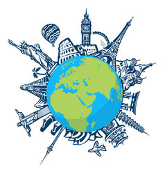 Famous world landmarks located around globe vector
