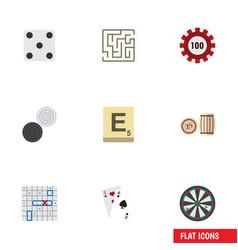 Flat icon games set backgammon sea fight vector