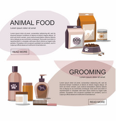 Food and grooming for pets accessories shop vector