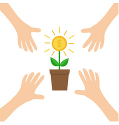 four hands arms reaching to growing money tree vector image