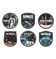 galaxy space astronaut and rocket icons vector image
