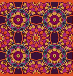 geometric flower ethnic seamless pattern vector image