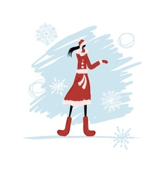 Girl in winter coat for your design vector image
