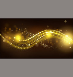 gold sparkle wave on black blurred background vector image