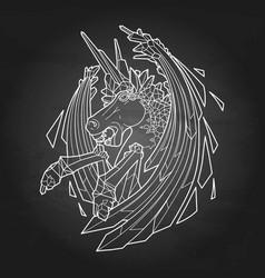 Graphic demonic unicorn vector