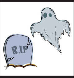 halloween grave and ghost vector image