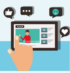 hand touching screen mobile blogger man video vector image