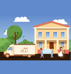 happy couple moving to new house people cartoon vector image