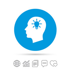 Head with lamp bulb sign icon male human head vector