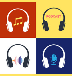 headphones audio concepts vector image