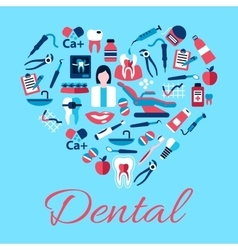Heart symbol of dental care icons flat style vector