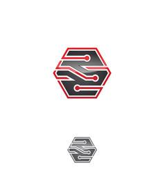 hexagon tech vector image