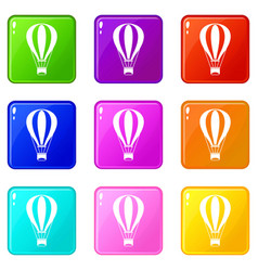 Hot air balloon set 9 vector