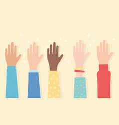 Human rights raised hands multicultural ethnic vector