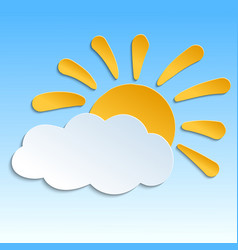 icon with paper sun and cloud with shadow vector image