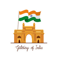 Indian gate temple with flag vector