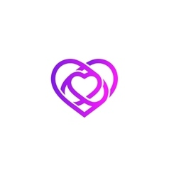 Isolated purple abstract monoline heart logo Love vector image