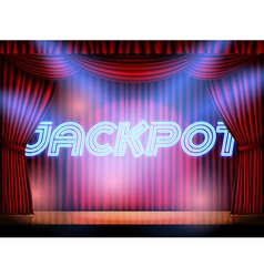 Jackpot stage with red curtain vector
