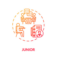 Junior red gradient concept icon vector