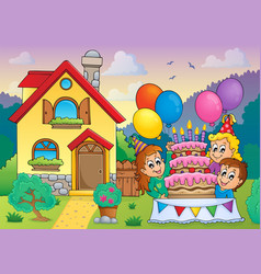 kids party near house 1 vector image