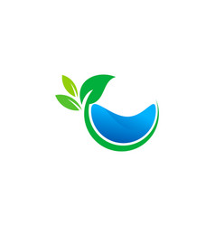 leaf water logo icon design vector image