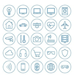 Line Circle Internet of Things Icons Set vector
