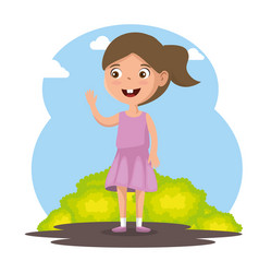 little girl happy character vector image