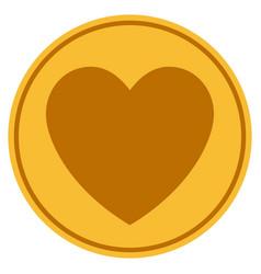 Love heart gold coin vector